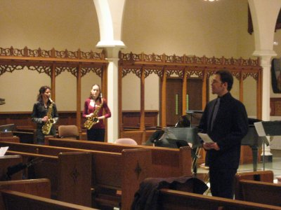 Daniel Morel introduces Carrie Koffman and Sheri Brown at the 2010 Local Composers Concert